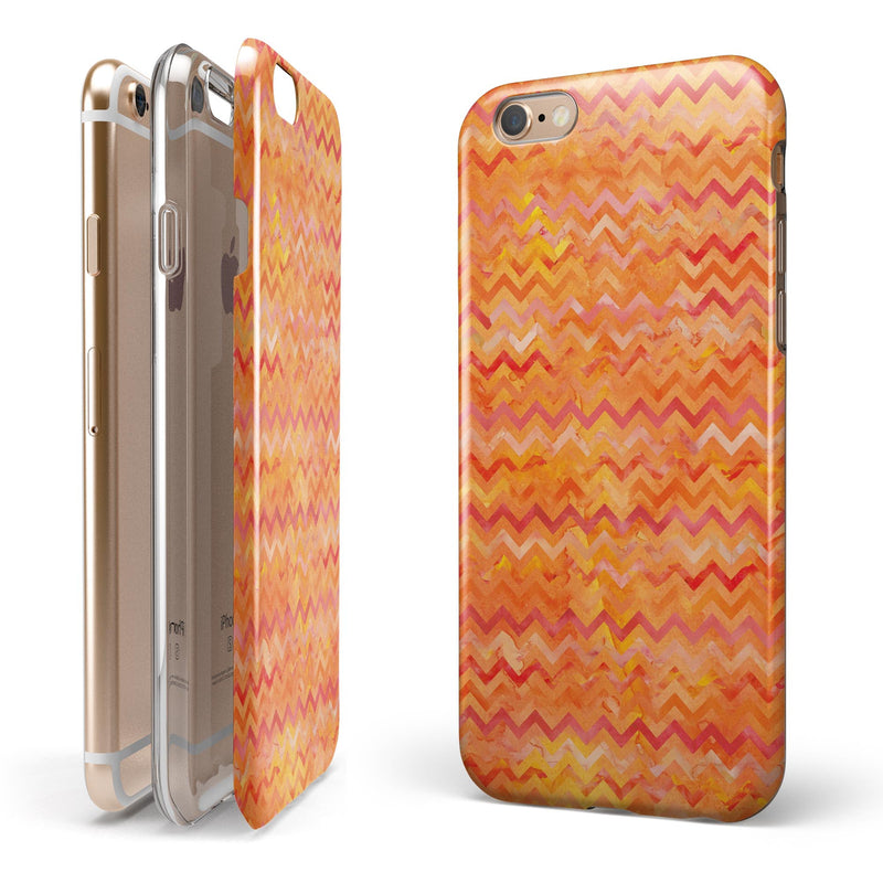 Orange Multi Watercolor Chevron iPhone 6/6s or 6/6s Plus 2-Piece Hybrid INK-Fuzed Case