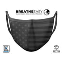 Patriotic USA Flag and Camouflage - BLACKED OUT - Made in USA Mouth Cover Unisex Anti-Dust Cotton Blend Reusable & Washable Face Mask with Adjustable Sizing for Adult or Child