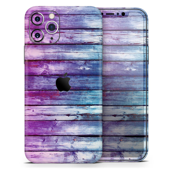 Pink & Blue Dyed Wood - Skin-Kit compatible with the Apple iPhone 12, 12 Pro Max, 12 Mini, 11 Pro or 11 Pro Max (All iPhones Available)
