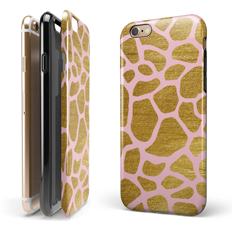 Pink Gold Flaked Animal v7 iPhone 6/6s or 6/6s Plus 2-Piece Hybrid INK-Fuzed Case
