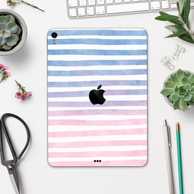 "Pink to Blue WaterColor Ombre Stripes - Full Body Skin Decal for the Apple iPad Pro 12.9"", 11"", 10.5"", 9.7"", Air or Mini (All Models Available)"