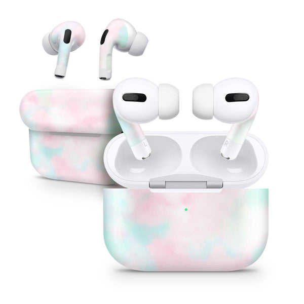 Pretty Pastel Clouds V7 - Full Body Skin Decal Wrap Kit for the Wireless Bluetooth Apple Airpods Pro, AirPods Gen 1 or Gen 2 with Wireless Charging