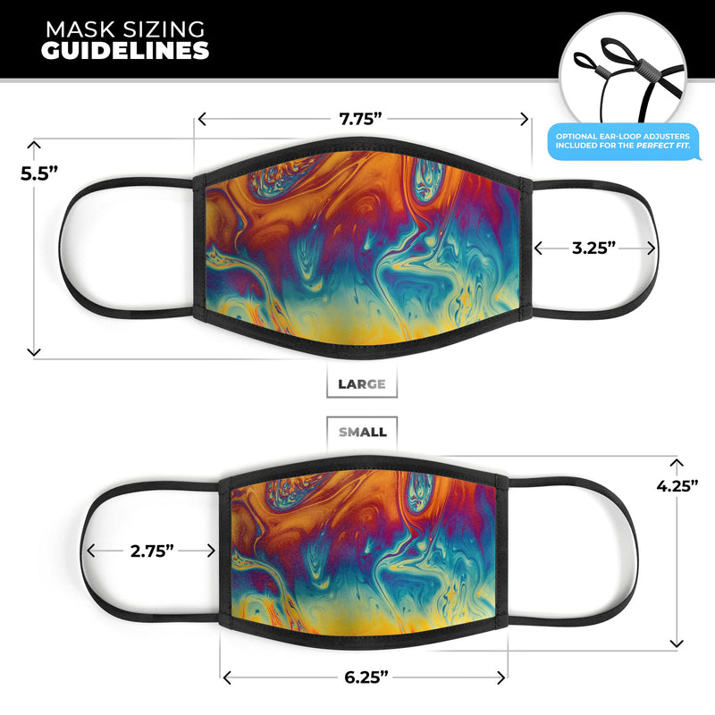 Psychedelic Abstract Oiled Vision V1 - Made in USA Mouth Cover Unisex Anti-Dust Cotton Blend Reusable & Washable Face Mask with Adjustable Sizing for Adult or Child