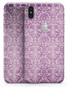 Purple Damask Grunge Pattern  - iPhone X Skin-Kit