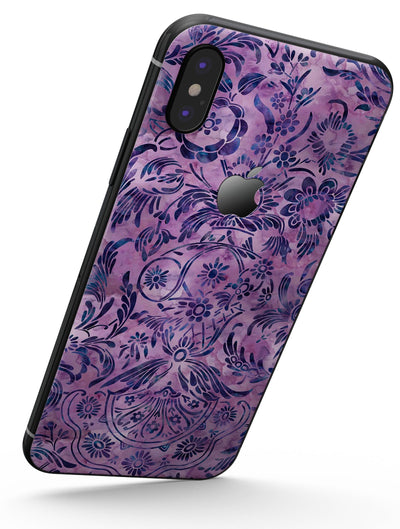 Purple Damask Watercolor Pattern - iPhone X Skin-Kit