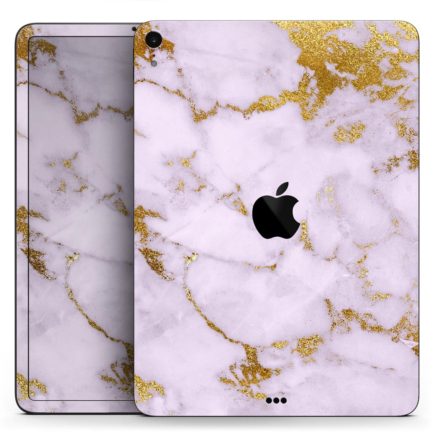"""Purple Marble & Digital Gold Foil V9 - Full Body Skin Decal for the Apple iPad Pro 12.9"""", 11"""", 10.5"""", 9.7"""", Air or Mini (All Models Available)"""