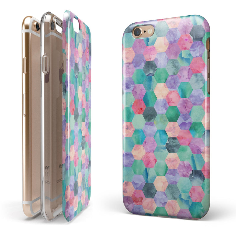 Purple Pink and Green Watercolor Hexagon Pattern iPhone 6/6s or 6/6s Plus 2-Piece Hybrid INK-Fuzed Case