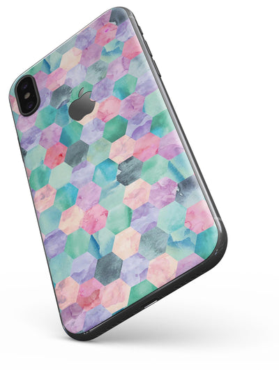 Purple Pink and Green Watercolor Hexagon Pattern - iPhone X Skin-Kit