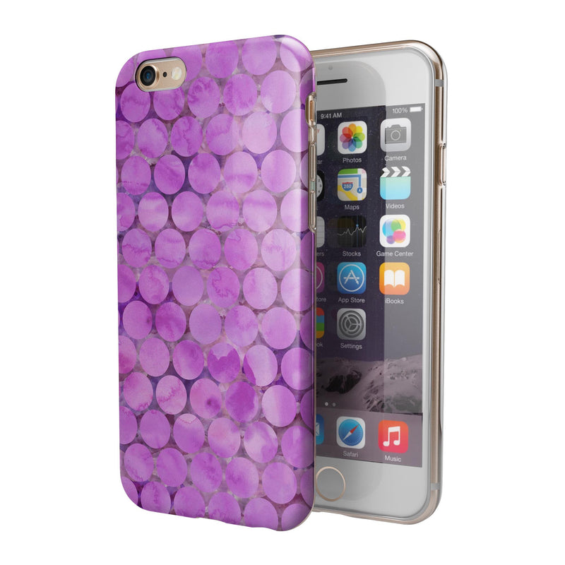 Purple Sorted Large Watercolor Polka Dots iPhone 6/6s or 6/6s Plus 2-Piece Hybrid INK-Fuzed Case
