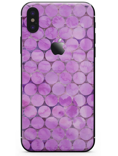 Purple Sorted Large Watercolor Polka Dots - iPhone X Skin-Kit