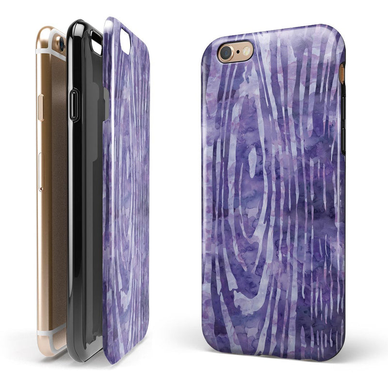 Purple Watercolor Woodgrain iPhone 6/6s or 6/6s Plus 2-Piece Hybrid INK-Fuzed Case