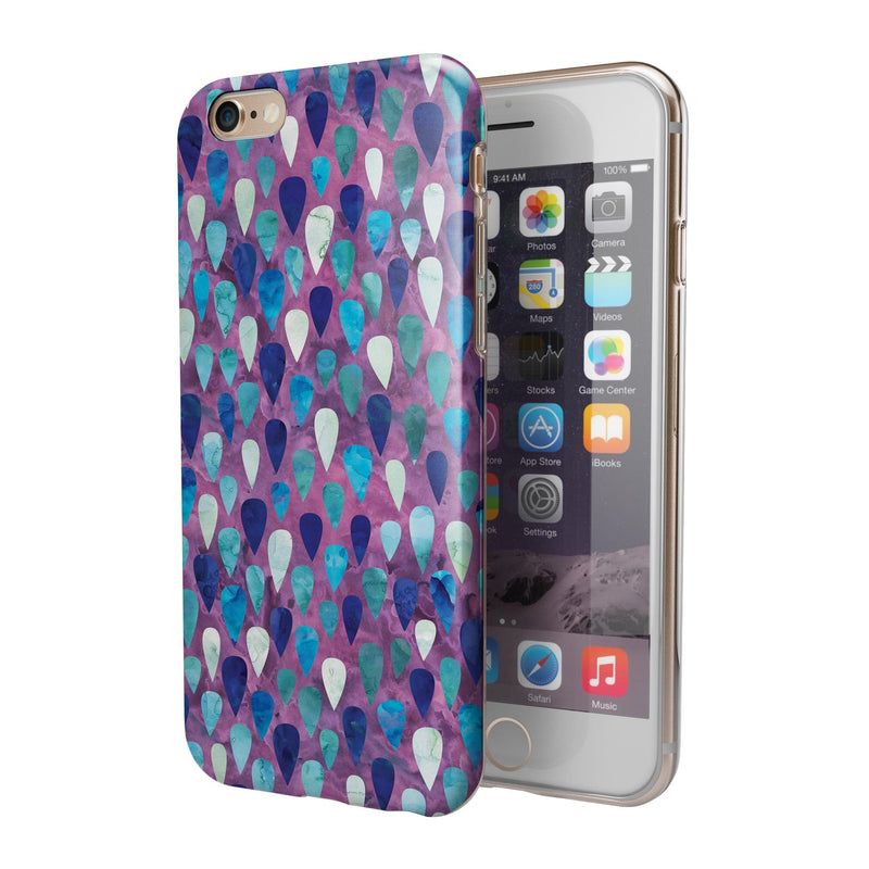 Purple and Blue Upside Down Teardrop Watercolor Pattern iPhone 6/6s or 6/6s Plus 2-Piece Hybrid INK-Fuzed Case