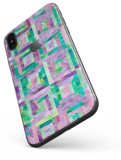 Purple and Green Watercolor Patchwork - iPhone X Skin-Kit