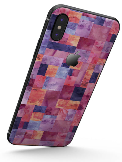 Purple and Pink Watercolor Patchwork - iPhone X Skin-Kit