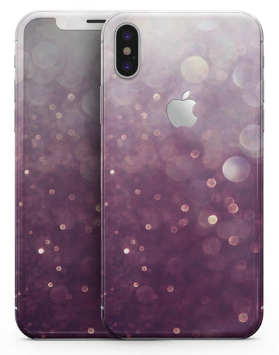 Purple and White Unfocued Orbs of Light - iPhone X Skin-Kit