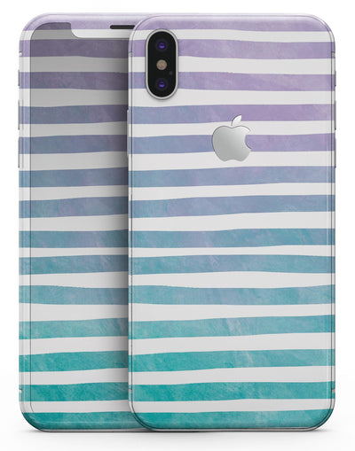 Purple to Green WaterColor Ombre Stripes - iPhone X Skin-Kit