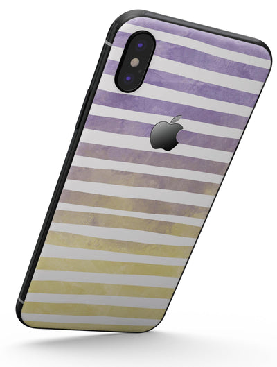 Purple to Yellow WaterColor Ombre Stripes - iPhone X Skin-Kit