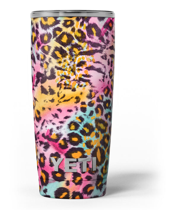 Rainbow Leopard Sherbet - Skin Decal Vinyl Wrap Kit compatible with the Yeti Rambler Cooler Tumbler Cups