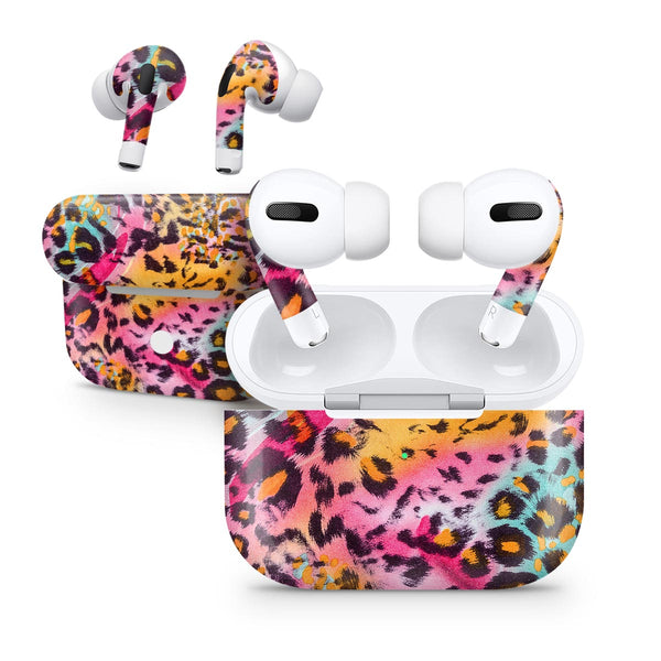 Rainbow Leopard Sherbet - Full Body Skin Decal Wrap Kit for the Wireless Bluetooth Apple Airpods Pro, AirPods Gen 1 or Gen 2 with Wireless Charging