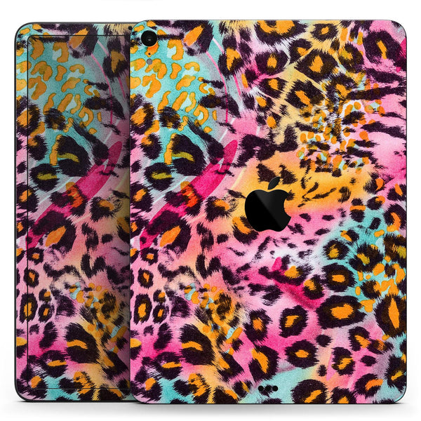 "Rainbow Leopard Sherbet - Full Body Skin Decal for the Apple iPad Pro 12.9"", 11"", 10.5"", 9.7"", Air or Mini (All Models Available)"