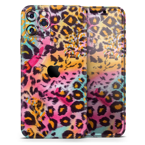 Rainbow Leopard Sherbet - Skin-Kit compatible with the Apple iPhone 12, 12 Pro Max, 12 Mini, 11 Pro or 11 Pro Max (All iPhones Available)