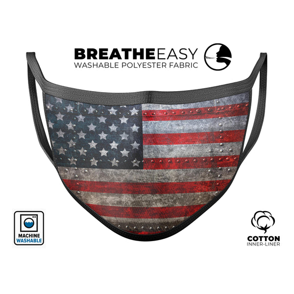 Riveted Metal American Flag USA - Made in USA Mouth Cover Unisex Anti-Dust Cotton Blend Reusable & Washable Face Mask with Adjustable Sizing for Adult or Child