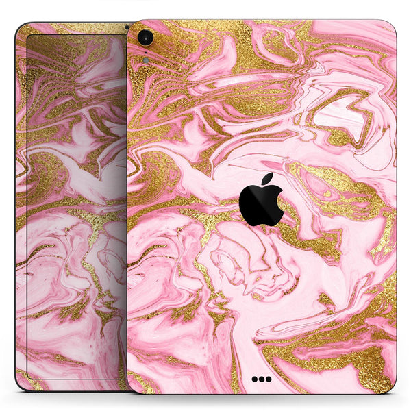 "Rose Pink Marble & Digital Gold Frosted Foil V17 - Full Body Skin Decal for the Apple iPad Pro 12.9"", 11"", 10.5"", 9.7"", Air or Mini (All Models Available)"