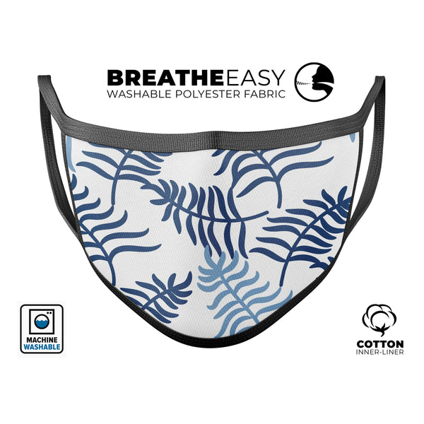 Shades of Blue Whispy Feathers - Made in USA Mouth Cover Unisex Anti-Dust Cotton Blend Reusable & Washable Face Mask with Adjustable Sizing for Adult or Child