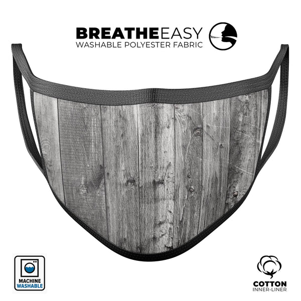 Shades of Gray Vintage Wood - Made in USA Mouth Cover Unisex Anti-Dust Cotton Blend Reusable & Washable Face Mask with Adjustable Sizing for Adult or Child