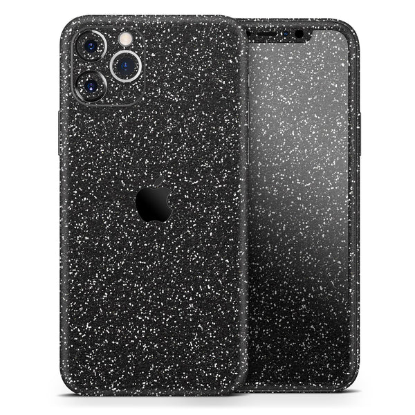 Sparkling Black Ultra Metallic Glitter - Skin-Kit compatible with the Apple iPhone 12, 12 Pro Max, 12 Mini, 11 Pro or 11 Pro Max (All iPhones Available)