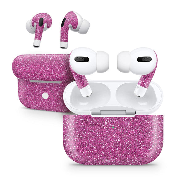 Sparkling Pink Ultra Metallic Glitter - Full Body Skin Decal Wrap Kit for the Wireless Bluetooth Apple Airpods Pro, AirPods Gen 1 or Gen 2 with Wireless Charging