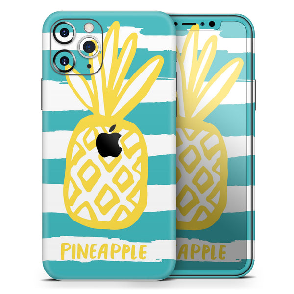 Striped Mint and Gold Pineapple - Skin-Kit compatible with the Apple iPhone 12, 12 Pro Max, 12 Mini, 11 Pro or 11 Pro Max (All iPhones Available)