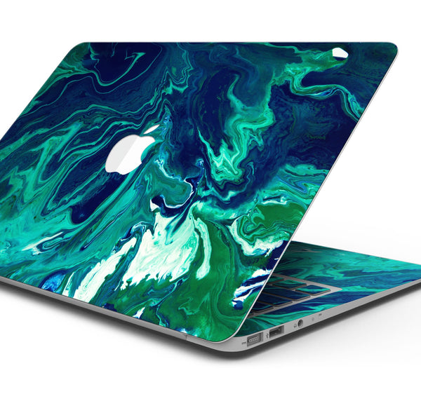 "Teal Oil Mixture - Skin Decal Wrap Kit Compatible with the Apple MacBook Pro, Pro with Touch Bar or Air (11"", 12"", 13"", 15"" & 16"" - All Versions Available)"