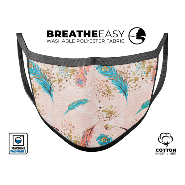Teal and Croal Feathers Over Gold Strokes - Made in USA Mouth Cover Unisex Anti-Dust Cotton Blend Reusable & Washable Face Mask with Adjustable Sizing for Adult or Child