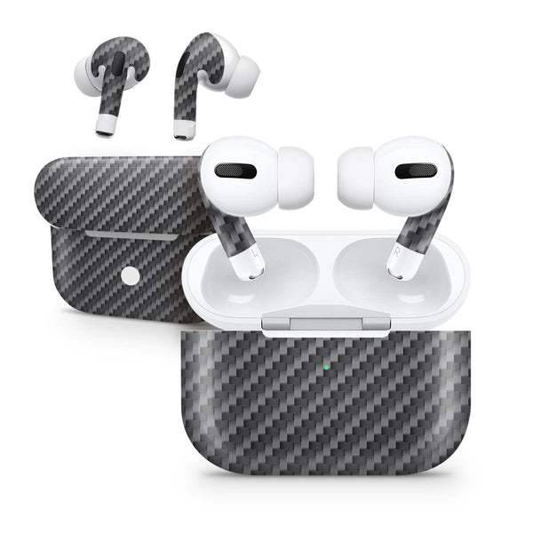 Textured Black Carbon Fiber - Full Body Skin Decal Wrap Kit for the Wireless Bluetooth Apple Airpods Pro, AirPods Gen 1 or Gen 2 with Wireless Charging