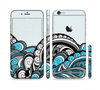 The Abstract Black & Blue Paisley Waves Sectioned Skin Series for the Apple iPhone 6/6s