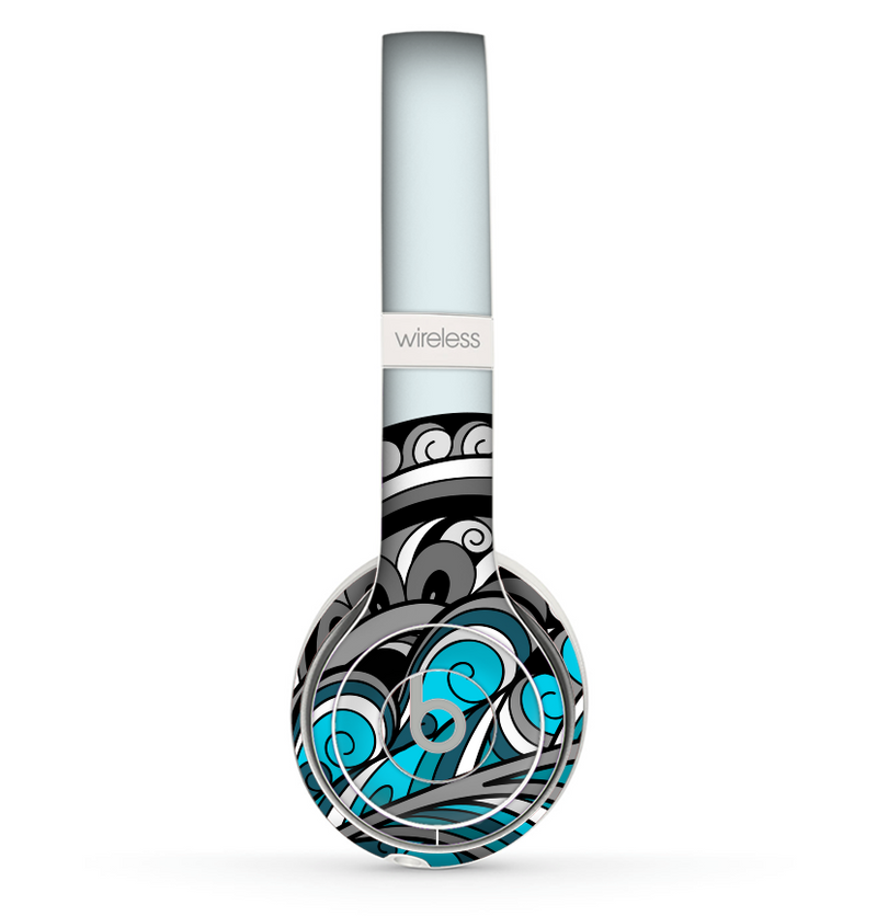 The Abstract Black & Blue Paisley Waves Skin Set for the Beats by Dre Solo 2 Wireless Headphones