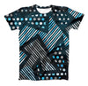 The Abstract Black and Blue Overlap ink-Fuzed Unisex All Over Full-Printed Fitted Tee Shirt