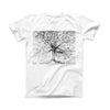 The Abstract Black and White WaterColor Vivid Tree ink-Fuzed Front Spot Graphic Unisex Soft-Fitted Tee Shirt