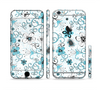 The Abstract Blue & Black Seamless Flowers Sectioned Skin Series for the Apple iPhone 6/6s