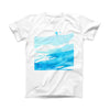 The Abstract Blue Strokes ink-Fuzed Front Spot Graphic Unisex Soft-Fitted Tee Shirt