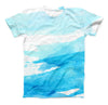 The Abstract Blue Strokes ink-Fuzed Unisex All Over Full-Printed Fitted Tee Shirt
