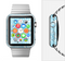 The Abstract Blue & White Waves Full-Body Skin Set for the Apple Watch