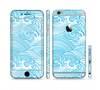 The Abstract Blue & White Waves Sectioned Skin Series for the Apple iPhone 6/6s