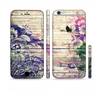 The Abstract Color Floral Painted Wood Planks Sectioned Skin Series for the Apple iPhone 6/6s