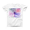 The Abstract Colorful WaterColor Vivid Tree V2 ink-Fuzed Front Spot Graphic Unisex Soft-Fitted Tee Shirt