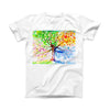 The Abstract Colorful WaterColor Vivid Tree V3 ink-Fuzed Front Spot Graphic Unisex Soft-Fitted Tee Shirt