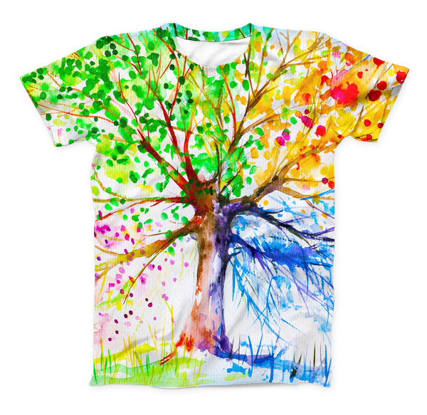 The Abstract Colorful WaterColor Vivid Tree V3 ink-Fuzed Unisex All Over Full-Printed Fitted Tee Shirt