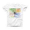The Abstract Colorful WaterColor Vivid Tree ink-Fuzed Front Spot Graphic Unisex Soft-Fitted Tee Shirt