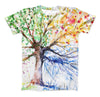 The Abstract Colorful WaterColor Vivid Tree ink-Fuzed Unisex All Over Full-Printed Fitted Tee Shirt